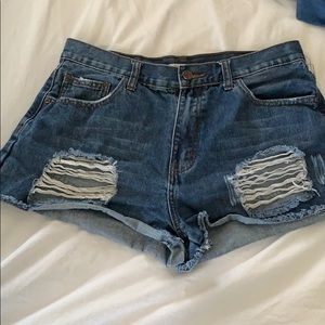 Blue ripped denim shorts from Forever 21